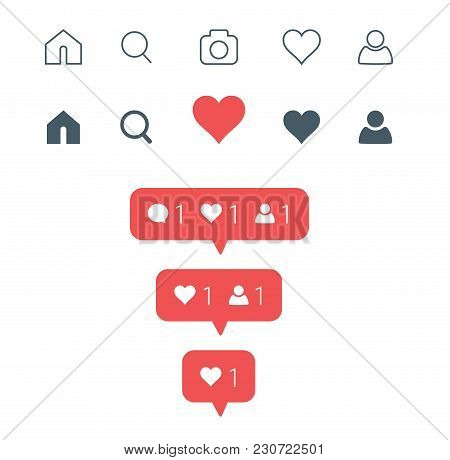 Set of social media icons inspired by Instagram: like, follower, comment, home, camera, user, search. Vector illustration
