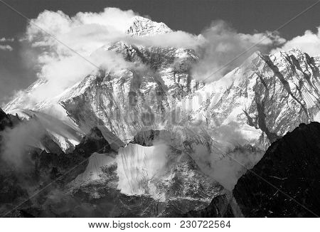 Black And White Panoramic View Of Mount Everest And Lhotse With Beautiful Clouds On The Top From Gok