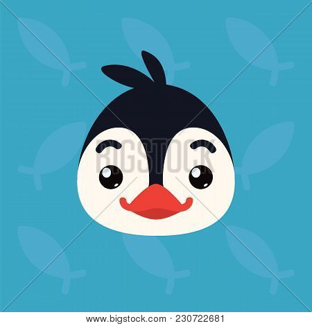 Penguin Emotional Head. Vector Illustration Of Cute Arctic Bird Shows Positive Emotion. Smile Emoji.