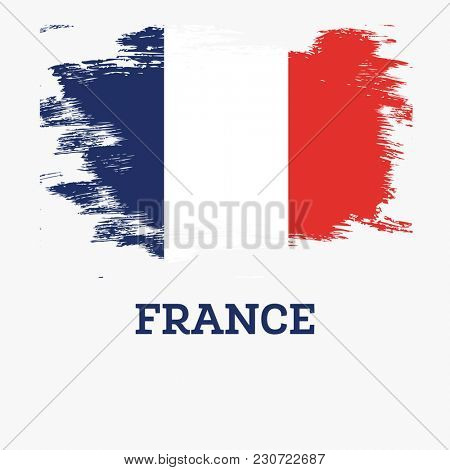 France Flag with Brush Strokes.