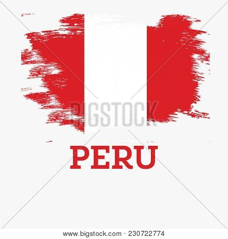 Peru Flag with Brush Strokes.
