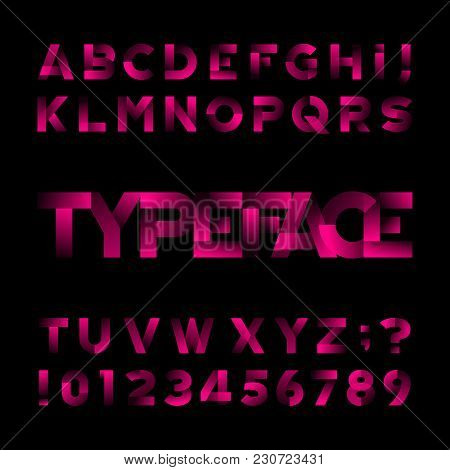 Abstract Alphabet Font. Type Letters And Numbers. Black Background. Stock Vector Typeface For Your D