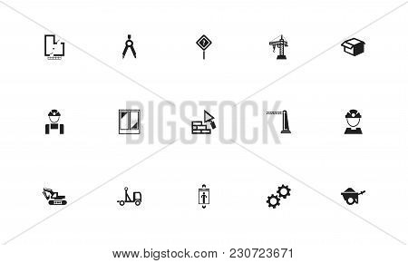 Set Of 15 Editable Structure Icons. Includes Symbols Such As Hoisting Machine, Pickup, Package And M