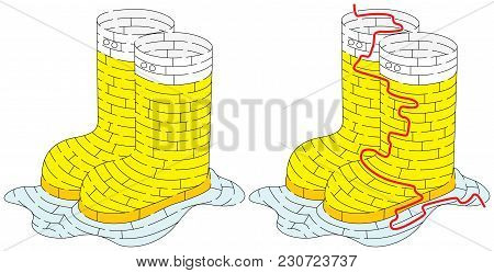 Rubber Boots Maze For Younger Kids With A Solution