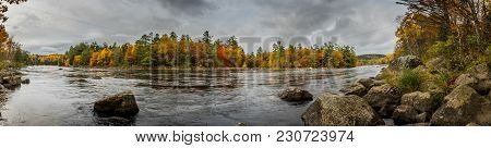 Penobscot River Panorama At Bend In River During Autumn