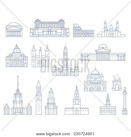 European Architecture - Buildings, Cathedrals And Monuments In Line Style