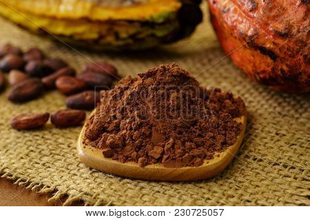Cacao Powder And Raw Cocoa Pod Fruit, Cacao Beans On Background