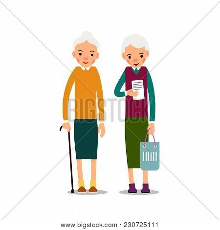 Old Woman. Elderly Woman Is Standing With Wand In Hand, Second Lady Is Holding Record, In Hand Is Ha