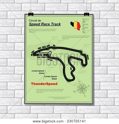 White Brick Wall With Green Plackard With Speed Track Circuit And Text