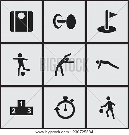 Set Of 9 Editable Sport Icons. Includes Symbols Such As Platform For Winner, Balance, Football And M