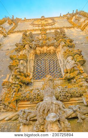Tomar, Portugal - August 10, 2017: Details Of Chapter Window, Janela Do Capitulo, In Manueline Style