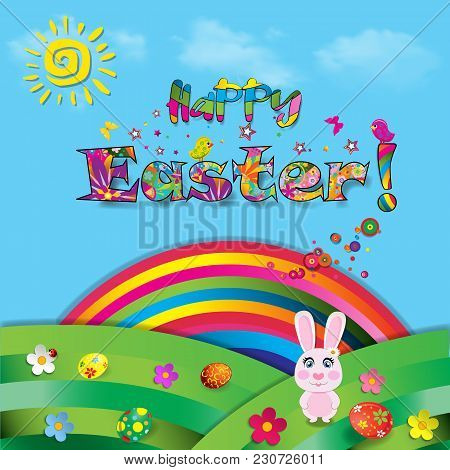 Happy Easter Vector Cartoon Colorful Paper Illustration Of Cute Rabbit On Beautiful Landscape Backgr