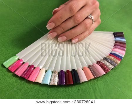 Manicure And Nail Color Samples. Woman Hands With  Manicure And Collection Of Color Nail Polish Samp