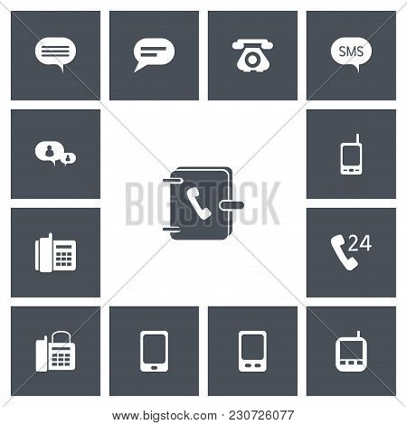 Set Of 13 Editable Phone Icons. Includes Symbols Such As Comment, Office Telephone, 24 Hour Servicin