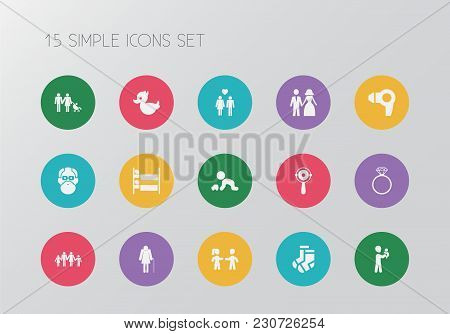 Set Of 15 Editable Folks Icons. Includes Symbols Such As Lineage, Wedding Couple, Pair Of Socks And