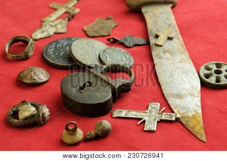 Rusty Knife And Castle Hinged Ancient Russian Objects Of The 18th Century