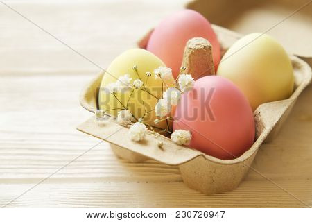 Different Pastel Color Easter Eggs Laid And Arranged In Beautiful Composition With White Wildflowers