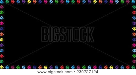Multicolored Banner Made Of Rainbow Animal Paw Prints