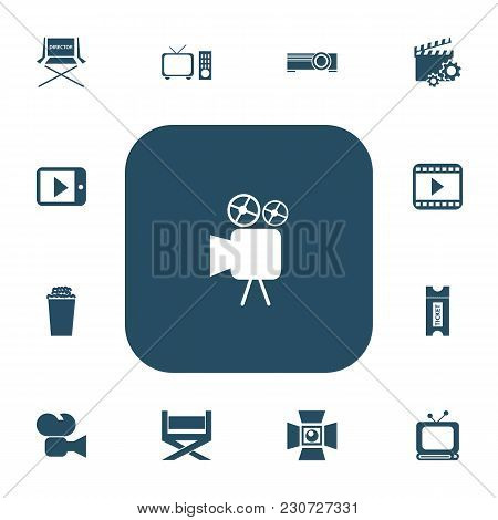 Set Of 13 Editable Movie Icons. Includes Symbols Such As Tv, Cinema Snack, Start Video And More. Can