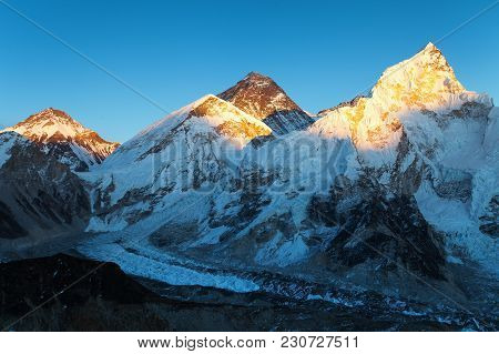 Evening Colored View Of Mount Everest And Nuptse From Kala Patthar, Khumbu Valley, Solukhumbu, Mount