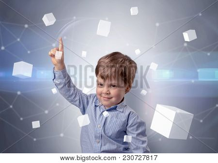Little boy with luminous cubes around and 3D concept