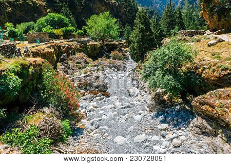 Hiking Trail In Samaria Gorge In Central Crete, Greece