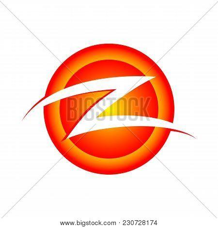 Initial Z Lettermark Circular Burning Slash Vector Symbol Graphic Logo Design