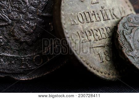 Ancient Money Of The 18th Century In Russia Close-up Of Coins