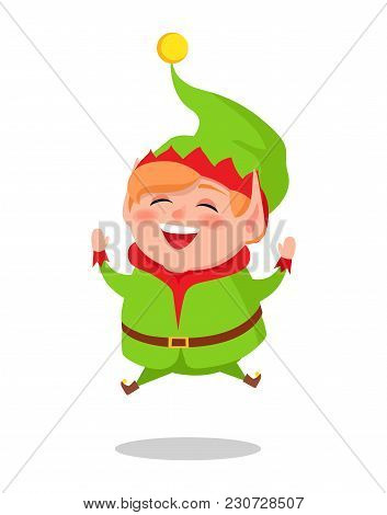 Happy Elf Jumping High Vector Illustration Cartoon Character In Green Suit Isolated On White Backgro