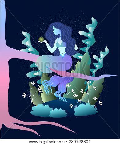 Sleek Illustration Of Magic Beast Mermaid In The Forest