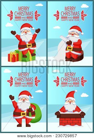 Merry Christmas Happy New Year Santa Bright Banner On Light Background. Vector Illustration With Sai