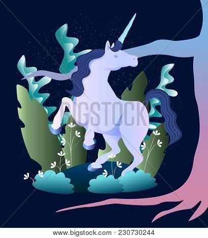 Sleek Illustration Of Magic Beast Unicorn In The Forest