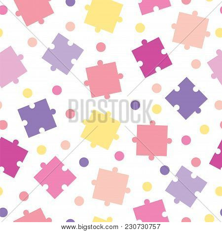 Seamless Tileable Pattern With Puzzle Pieces Vector