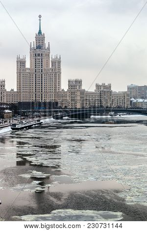 Views Of High-rise Building On The Kotelnicheskaya Embankment And Moscow River. Winter Landscapes Of