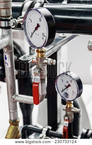 Pressure Gauge For Measuring Installed In Water Or Gas Systems. Focus On Pressure Gauge