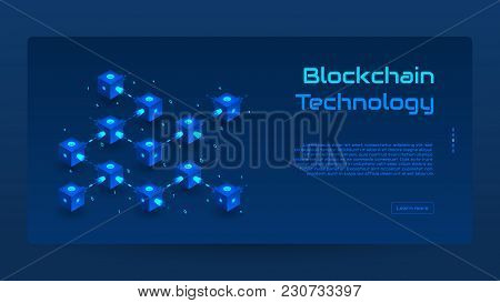 Abstract Blockchain Isometric Concept Banner. Modern Concept Of Digital Technology In The Shape Of B