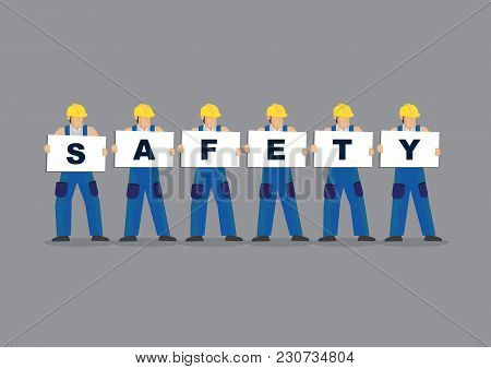 Vector Illustration Of Construction Workers Holding White Board Cards Title Safety. Full Length On G