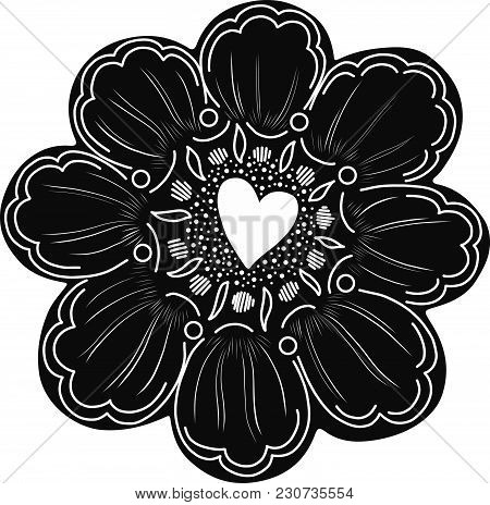 Simple Flower Element With Doodle Decoration. Easy To Change Color. Isolated Element.