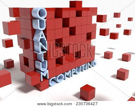 Wall Of Red Cubes On White With Boxes Floating Quantum Computing Concept 3d Illustration