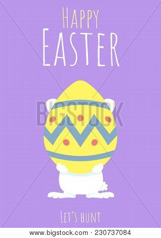 Happy Easter Greeting Card With Bunny And Easter Egg, Purple Easter Egg Hunt Template, Rabbit Holdin