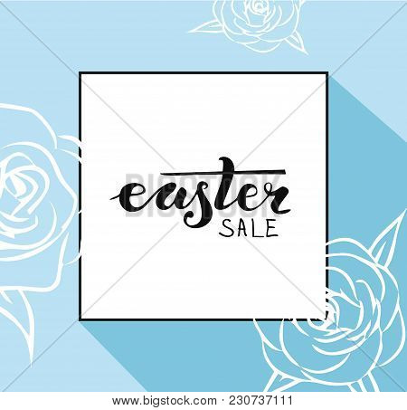 Hand Sketched Greeting Card With Easter Egg And Handwritten Inscription Happy Sale. Vector Illustrat