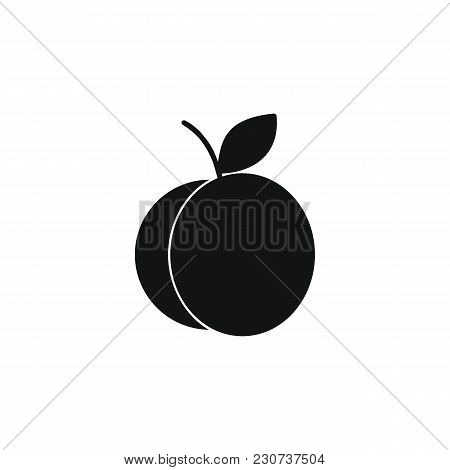 Apricot Icon In Black Silhouette Style. Vector Illustration With Apricot Isolated On White Backgroun