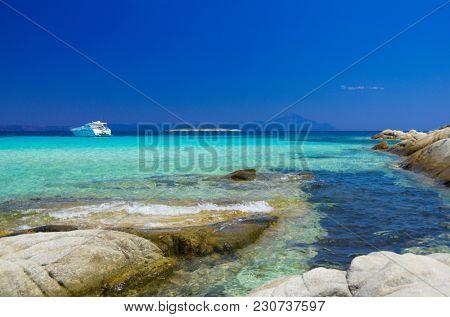 Rocks on sea shore at summer