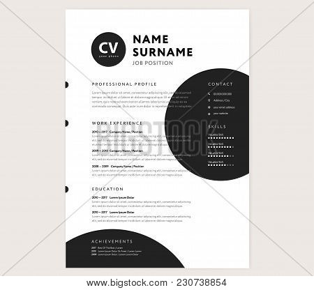 Cv / Resume Template - Creative Stylish Curriculum Vitae Design Vector - Minimal Style Geometric Cir