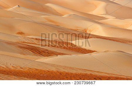 Abstract Patterns In The Dunes Of The Rub Al Khali Or Empty Quarter. Straddling Oman, Saudi Arabia,