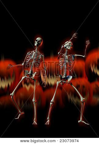 Halloween Skeletons And Evil Pumpkins