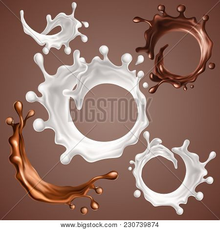 Set Of Realistic Splashes And Drops Of Milk And Melted Chocolate. Dynamic Circle Splashes Of Whirl L