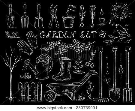 Chalk Spring Hand Drawn Set Of Garden Equipment