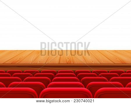 Realistic Theater Wooden Stage Or Floor With Rows Of Red Seats, Back View. Empty Seats In The Cinema