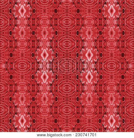 Abstract Geometric Background. Regular Ellipses And Diamond Pattern Red, Pink And Black Vertically.